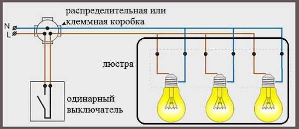 Подключение люстры - схема, 3 лампочки, простой одинарный выключатель