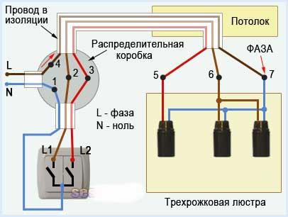 Схема - Подключение люстры к двухклавишному выключателю - 3 лампочки, светильника