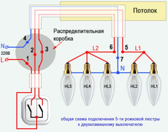 Схема - Подключение люстры к двухклавишному выключателю - 5 лампочек, светильников