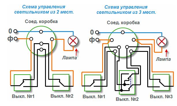 Проходные и перекидные выключатели - монтаж, схема подключения